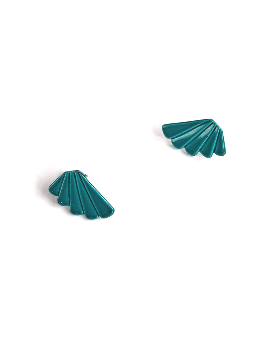 80s Bright Teal Fan Earrings