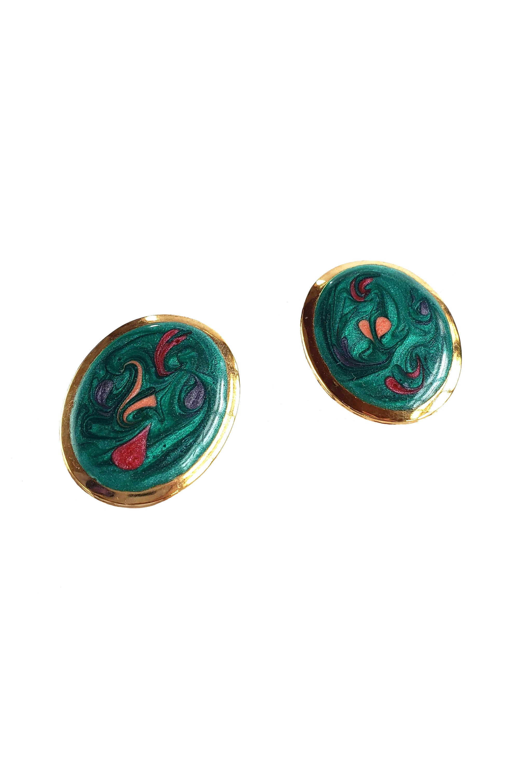 80s Teal Abstract Enamel Earrings
