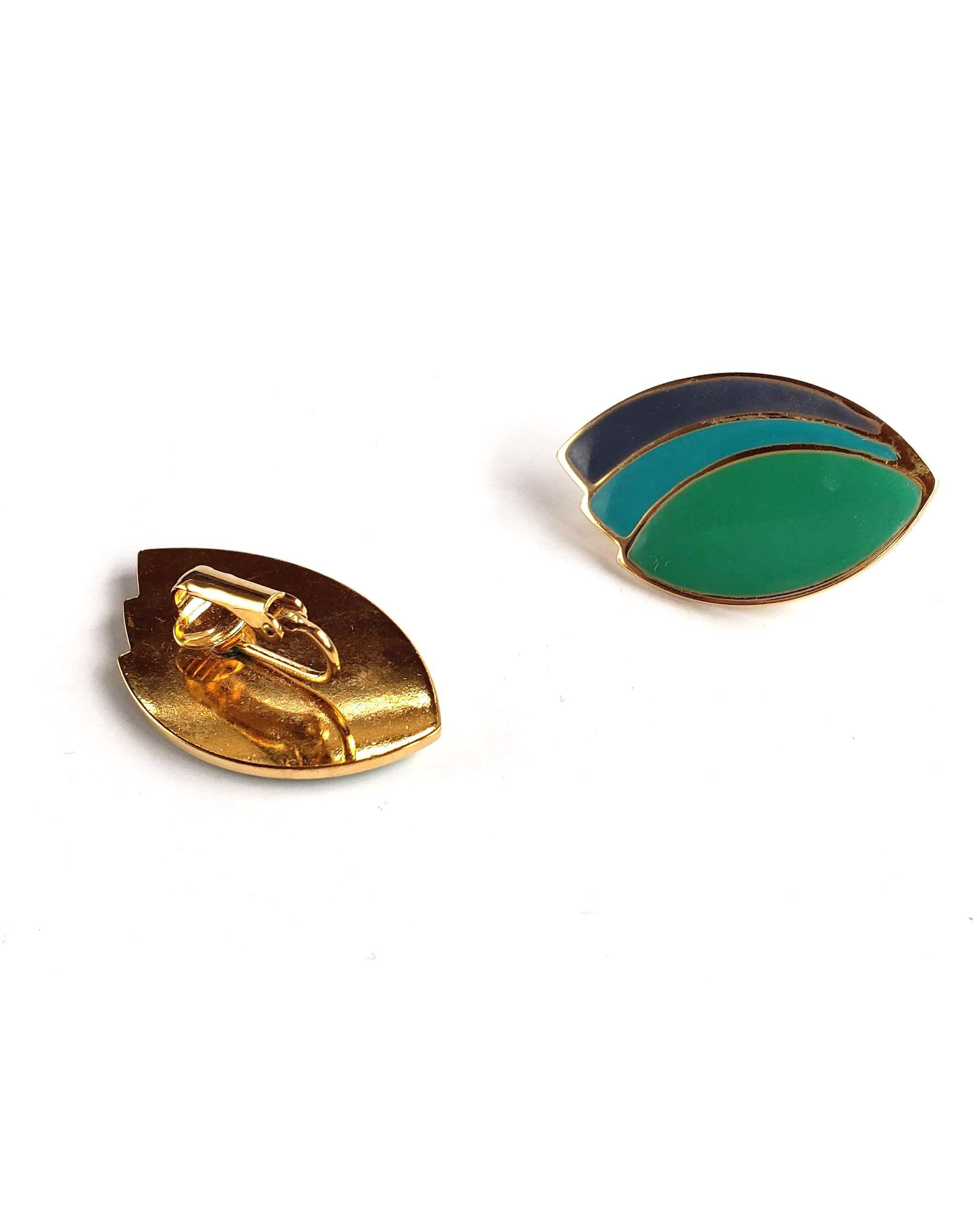80s Green, Teal & Periwinkle Enamel Clip-on Earrings