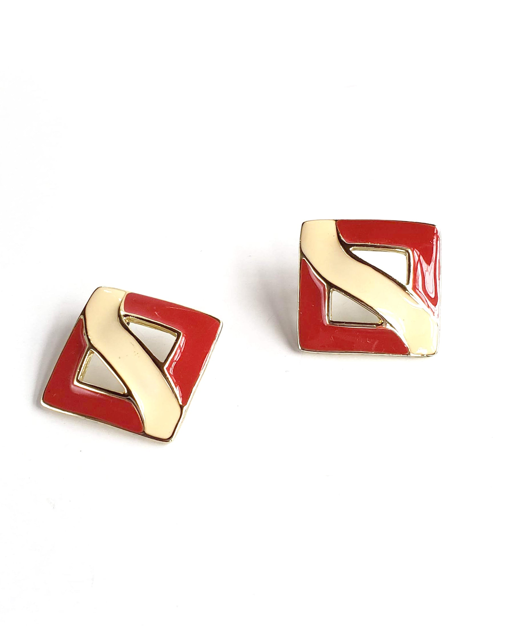 80s Red & Cream Enamel Earrings