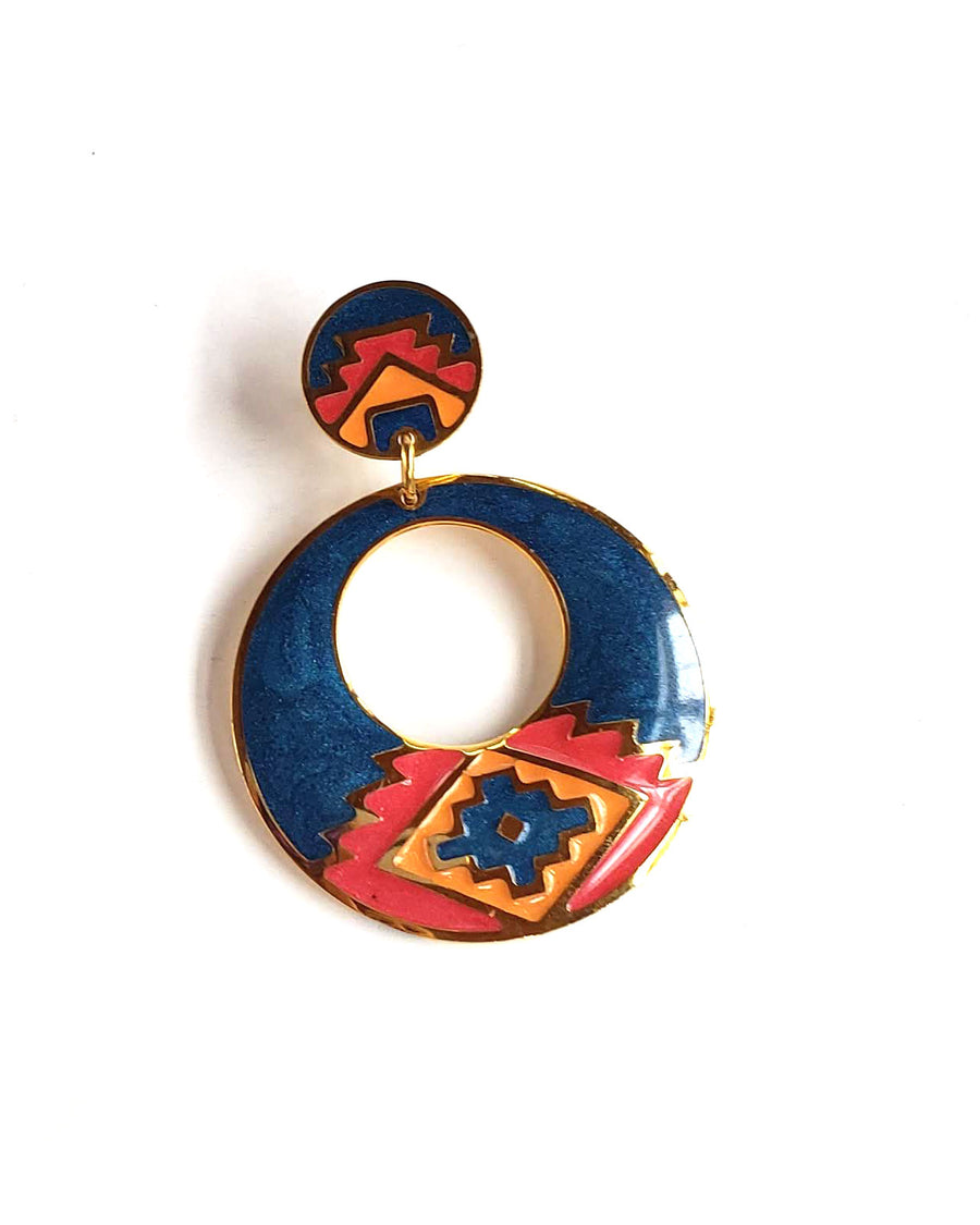 90s Southwest Aztec Enamel Earrings