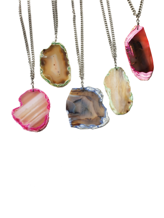 Rock Steady Agate Slice Necklace