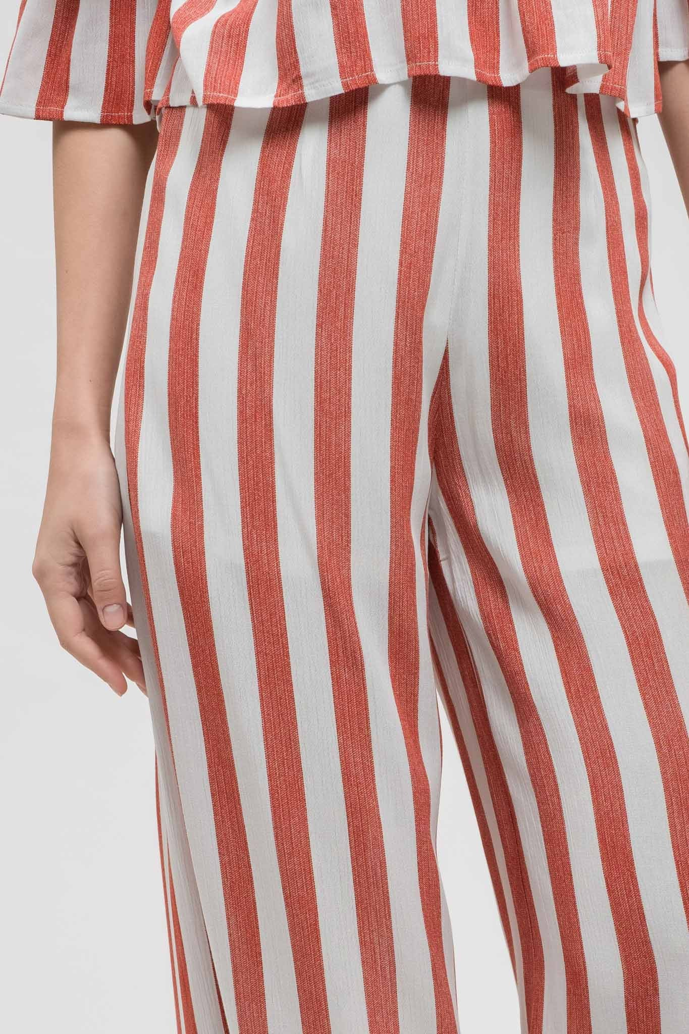 Start Me Up Coral/White Wide Leg Pants