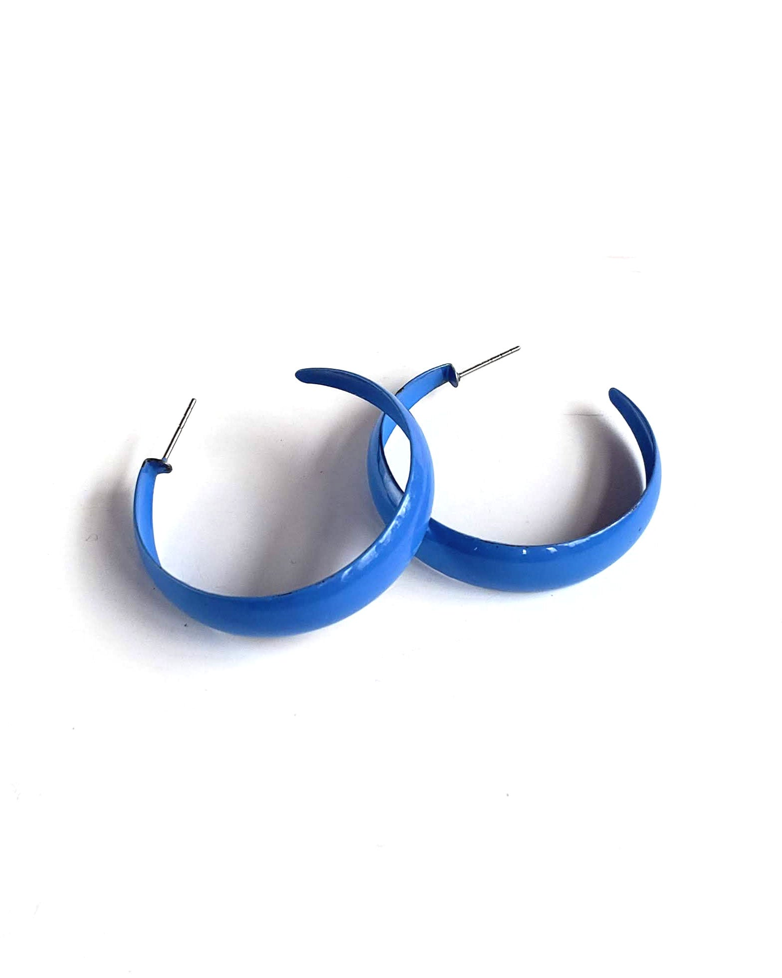 80s Electric Blue Hoop Earrings