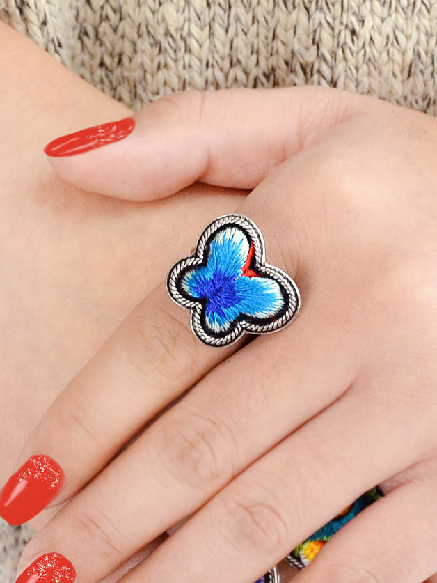 Blue Butterfly Embroidered Ring