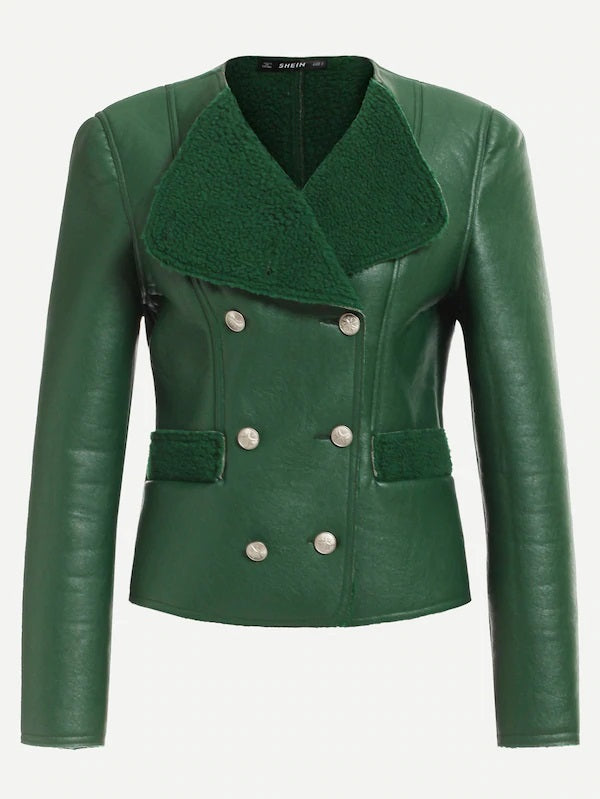 To Those About 2 Rock Emerald Pleather/Faux Sherpa Jacket