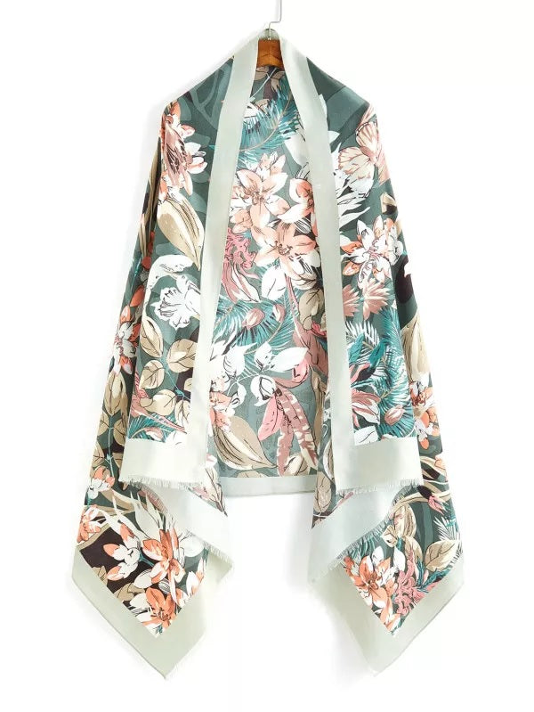 Welcome to the Jungle Tropical Print Wrap Scarf