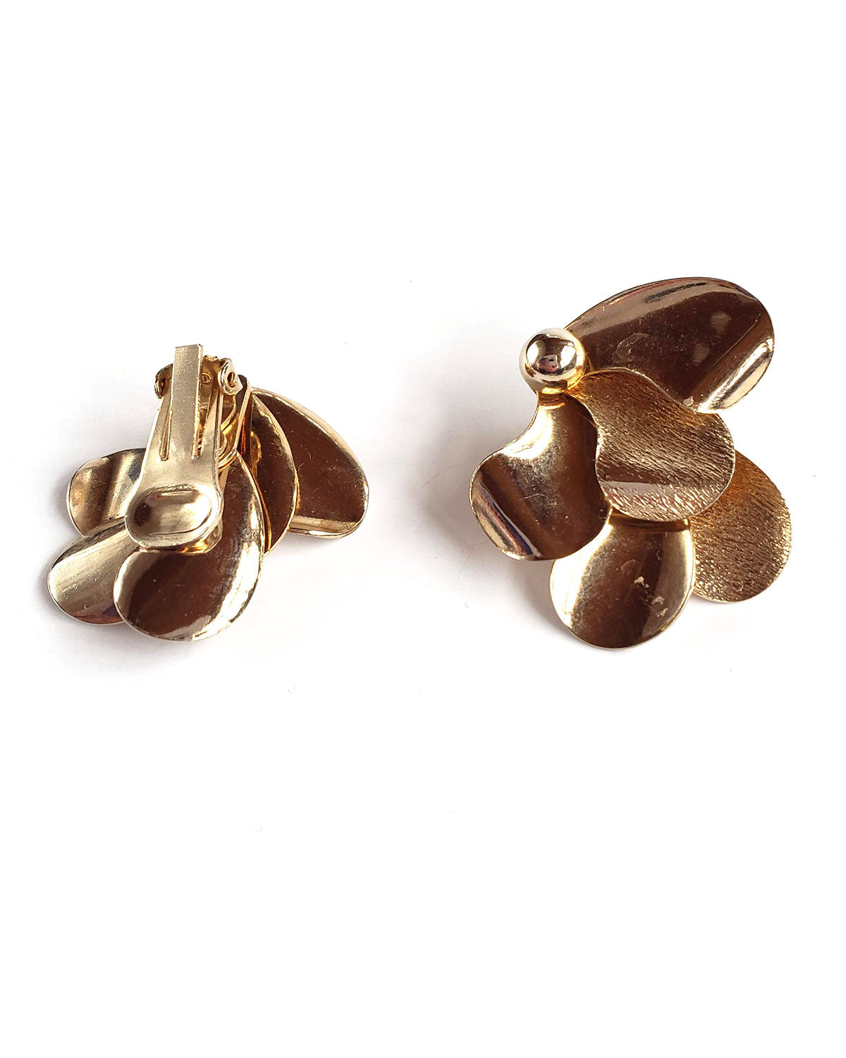 60s Funky Gold Flower Clip-on Earrings