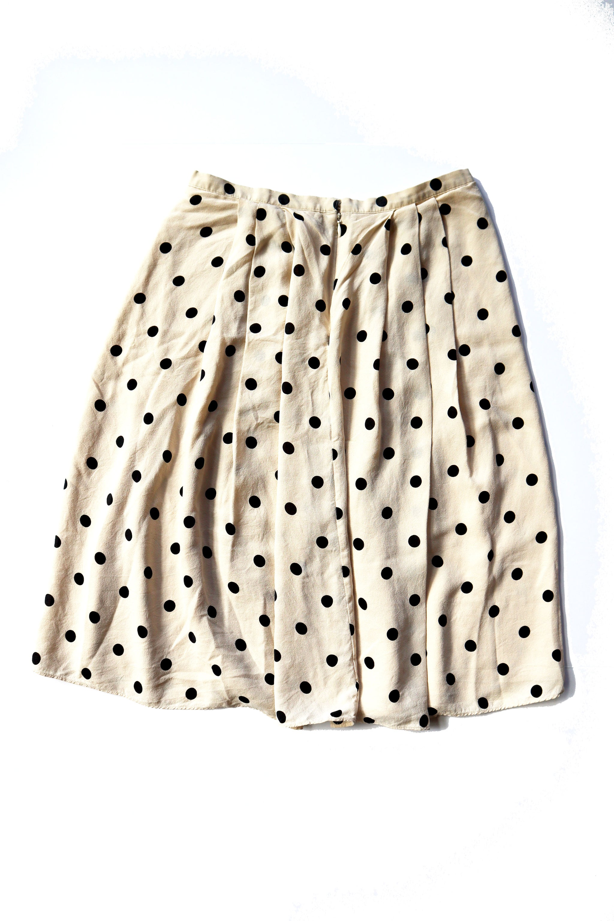 The Limited Silk Gauzy Cream Polka Dot Midi Skirt