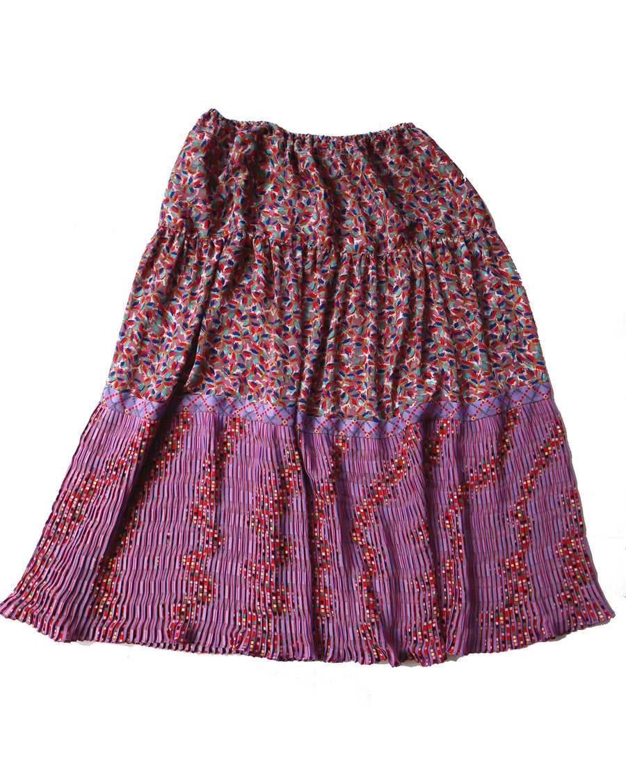 Vintage 90s Pleated & Tiered Bright Printed Skirt