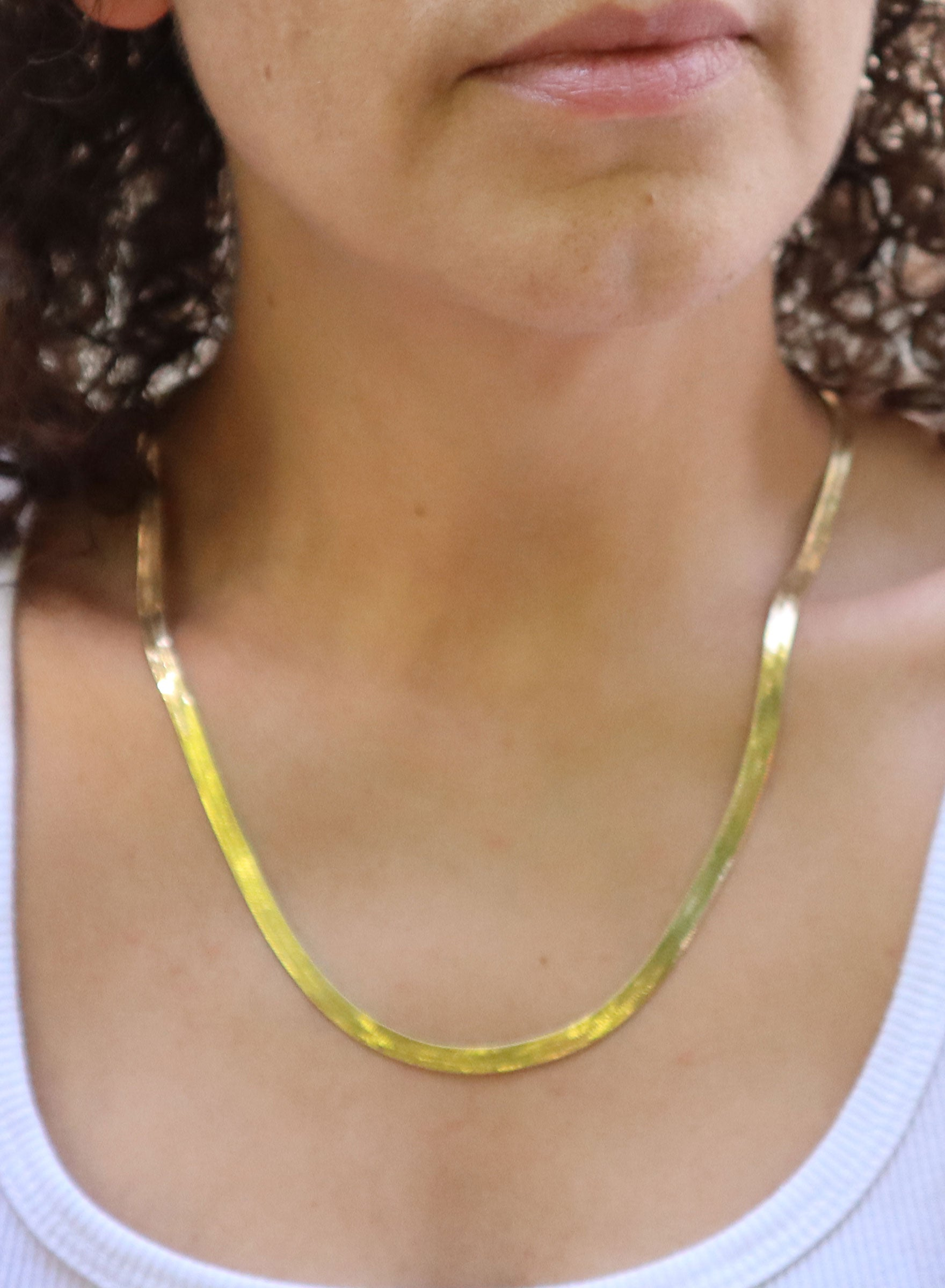 "Vintage 24"" Gold Herringbone Necklace"