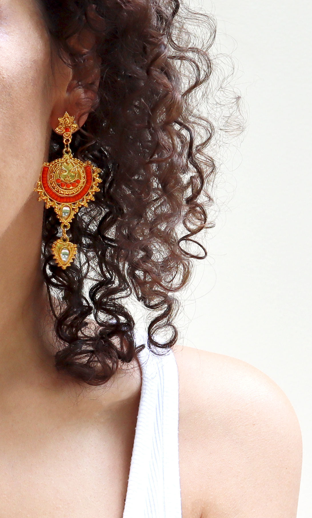 Gold with Orange Beads Jhumka Style Indian Earrings