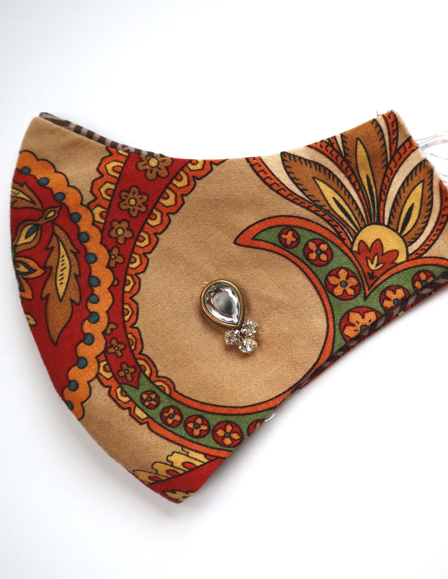 Taupe Paisley Mask w/Rhinestone Bead Trim & Filter Pocket