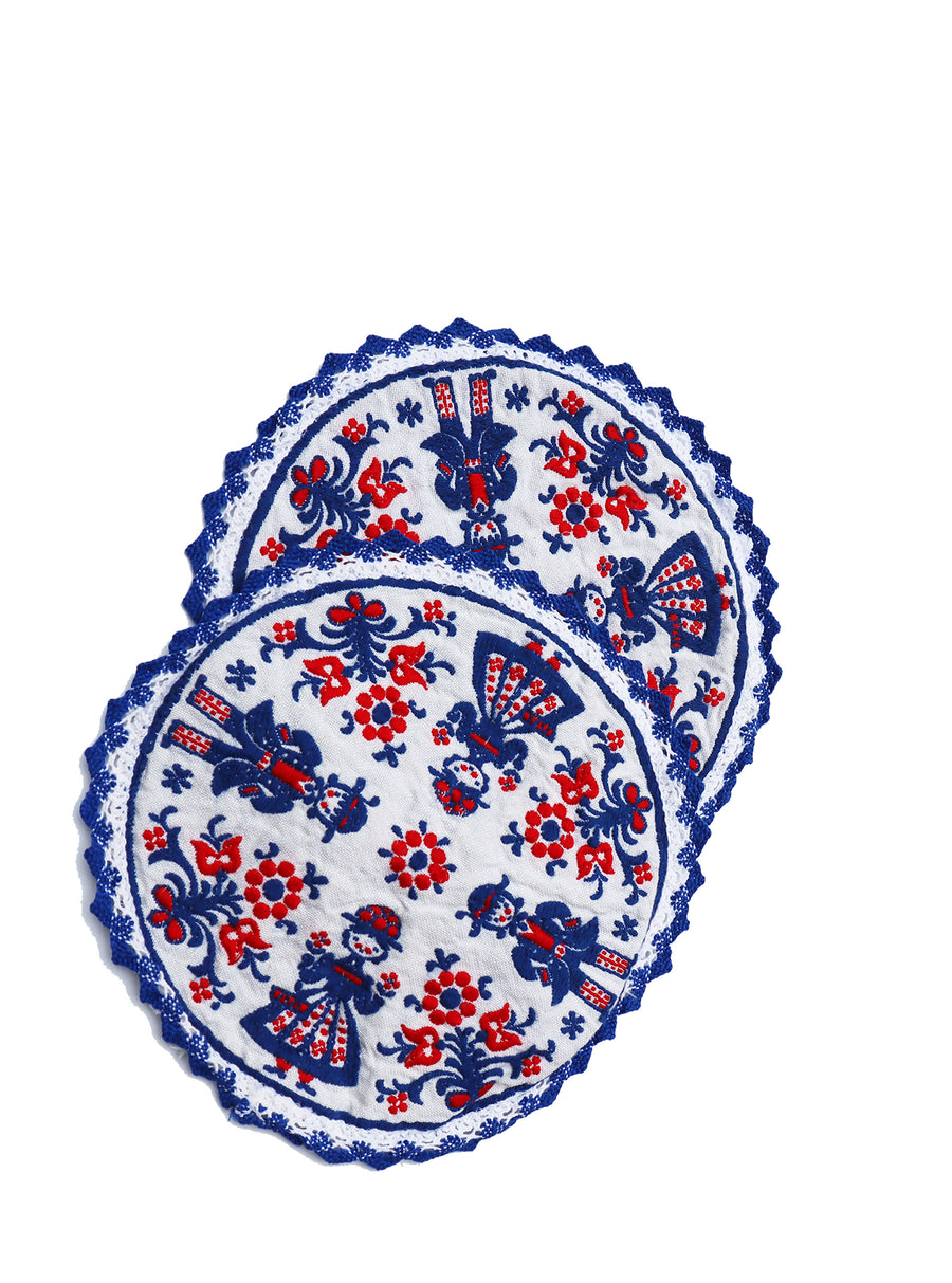 Vintage Scandinavian Embroidered Coasters/Doilies (Set of 2)