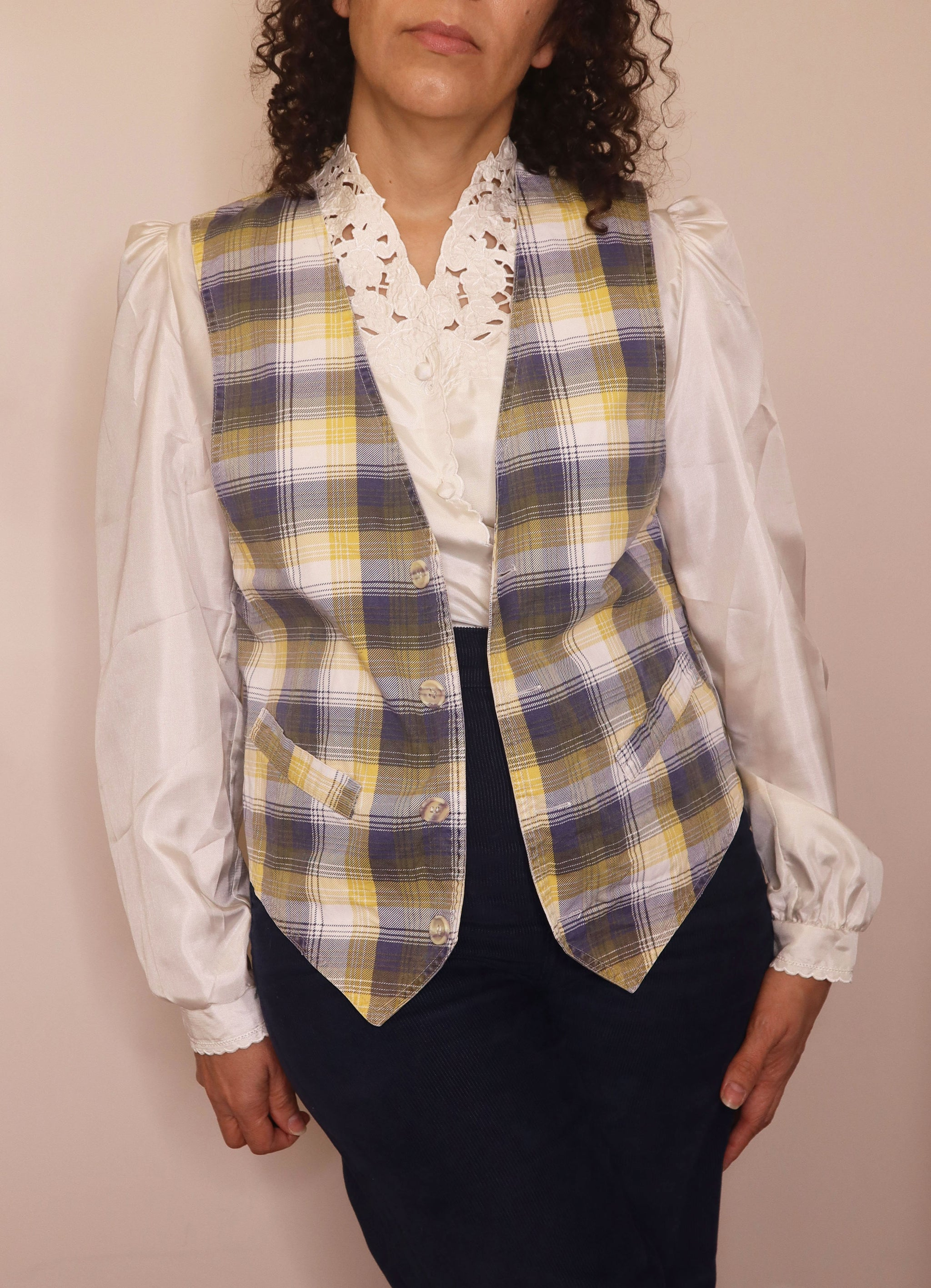 Vintage Women's Plaid Cotton Vest