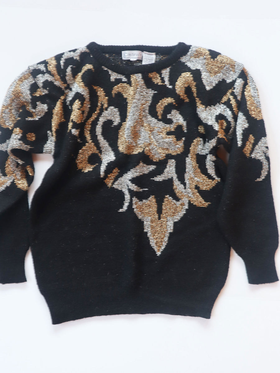 80s Black & Metallic Puff 80s Sweater