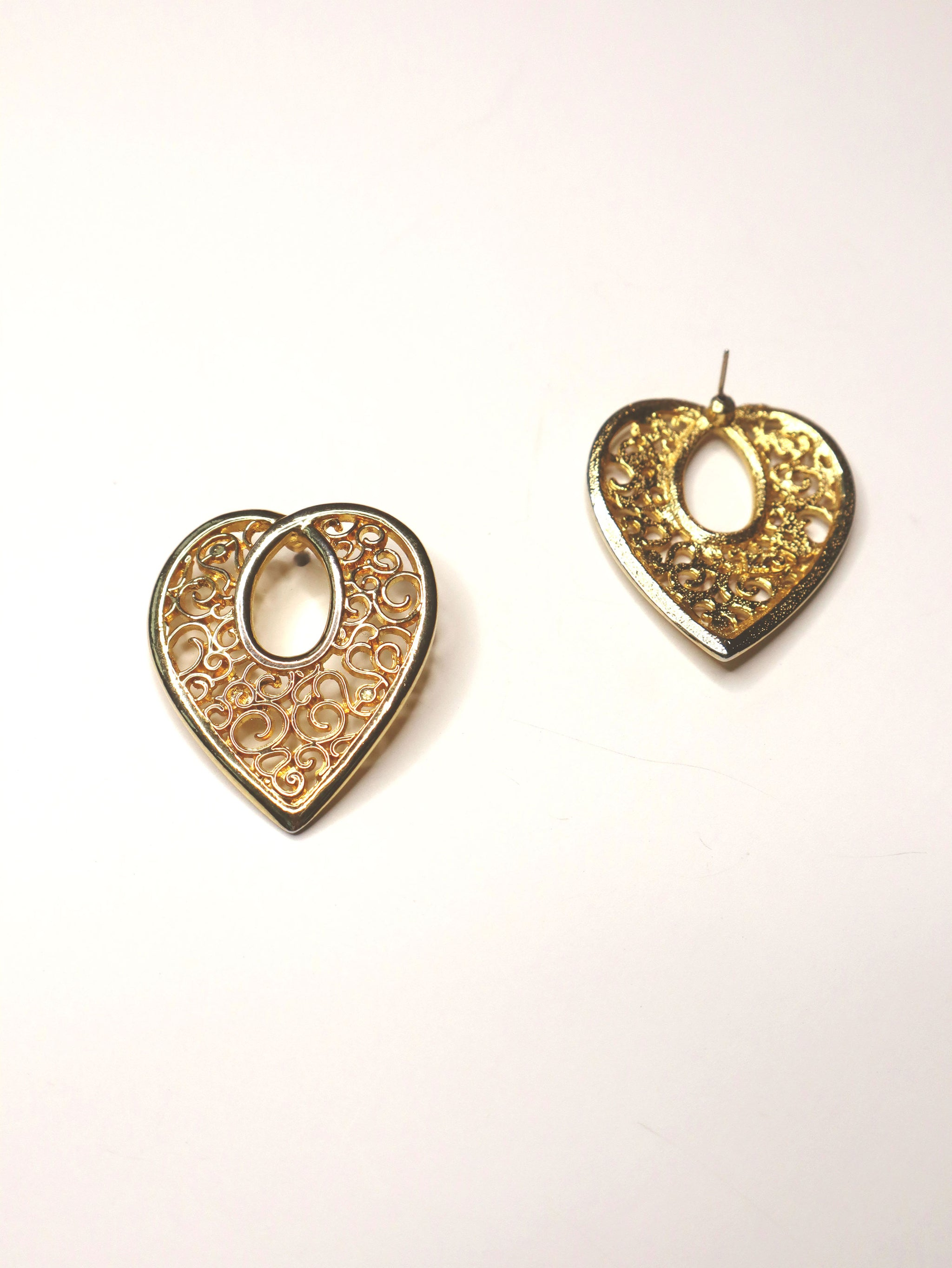 Vintage 80s Open Hearts Gold Statement Earrings