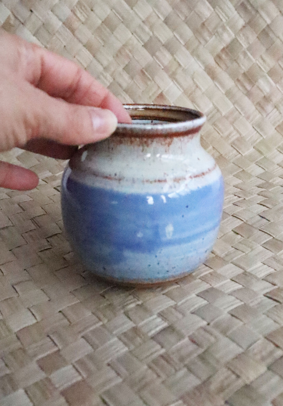 Vintage Blue/Cream Small Studio Pottery Bowl