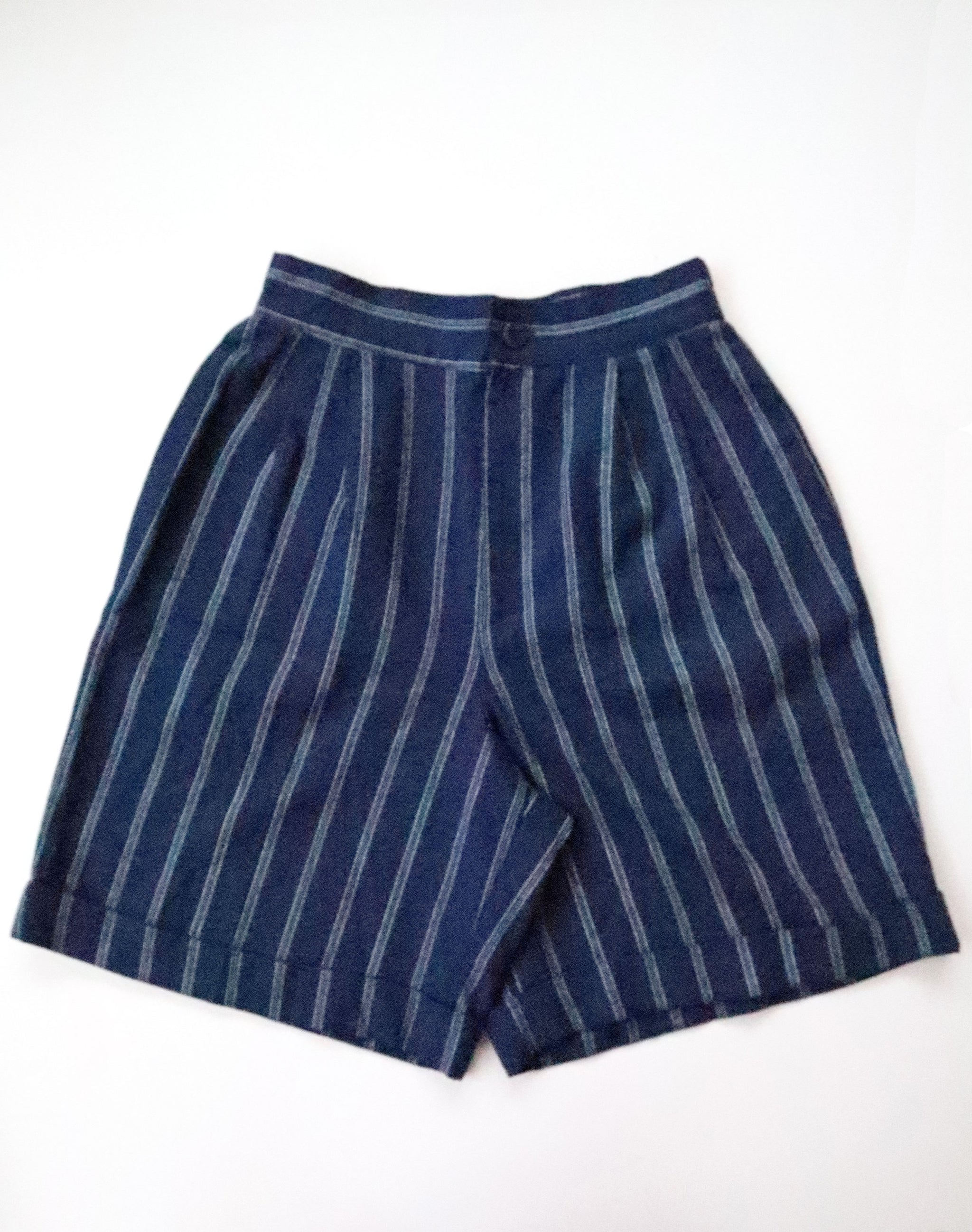 Vintage 90s Fundamental Things Navy Pinstriped Walking Shorts