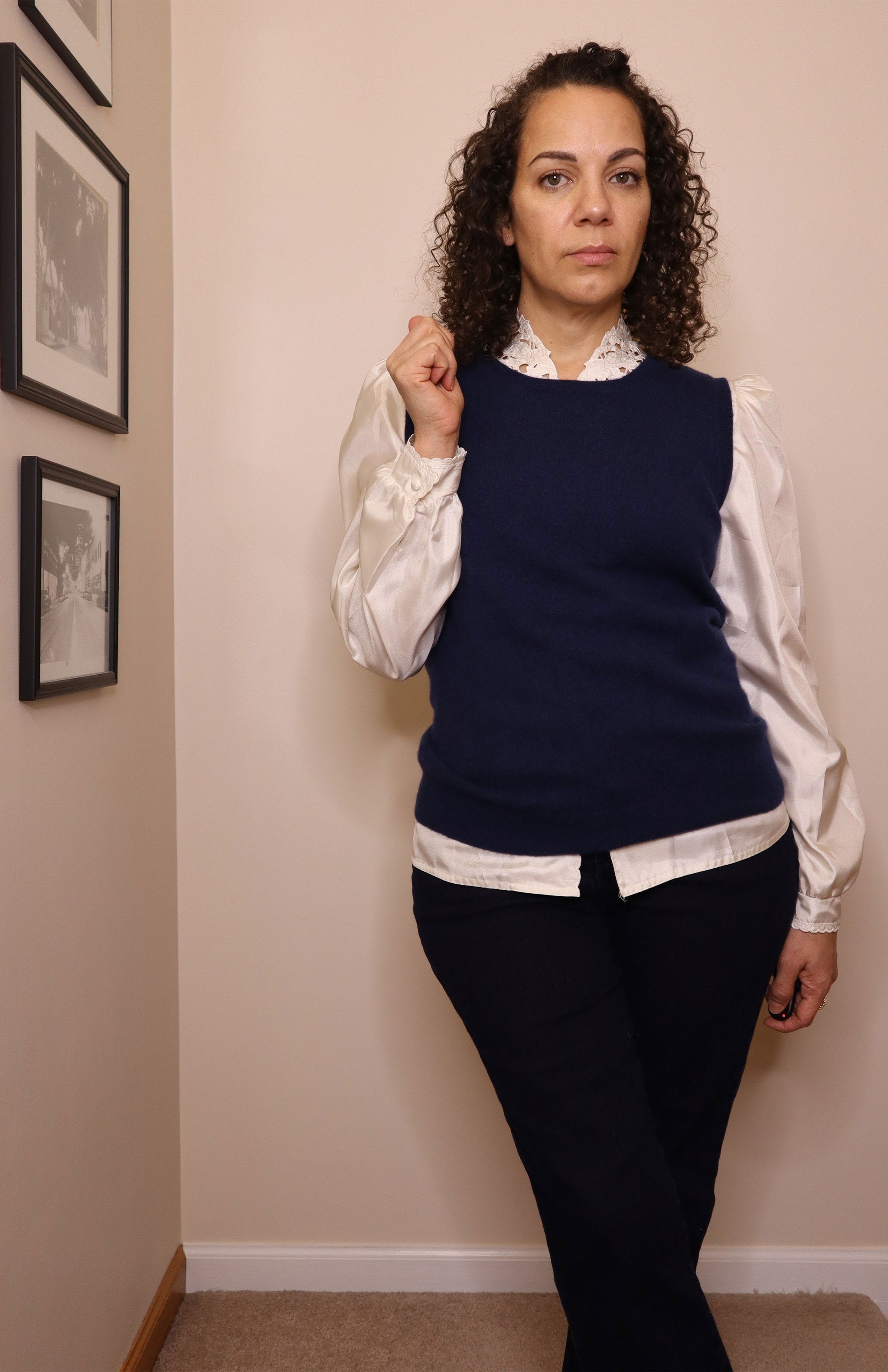 Bloomingdale's Cashmere Navy Sweater Vest