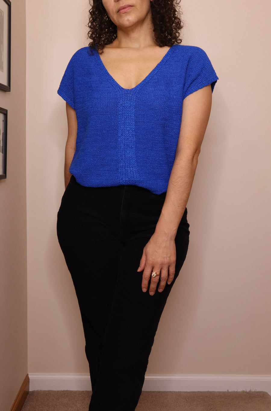 Vintage 80s August Silk Double V-neck Cobalt Blue Sweater with Back Bow