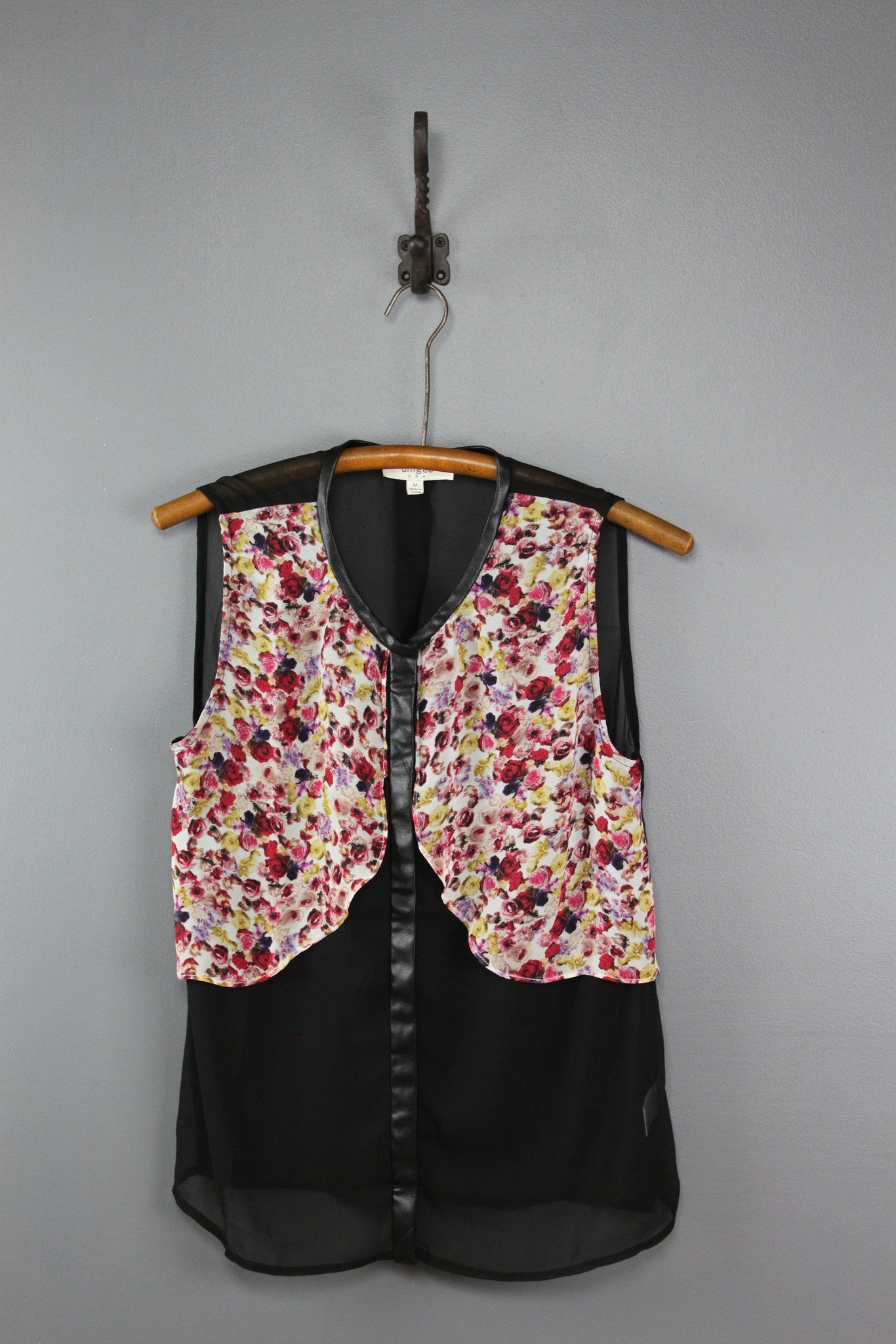 We're All Mad Chiffon Top with Faux Vest