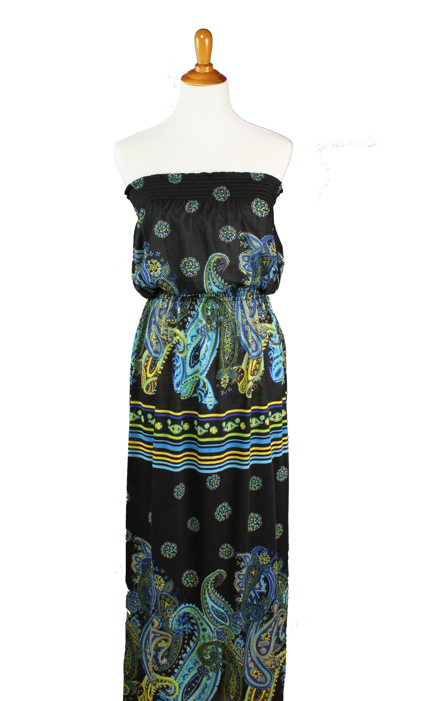 Paisley Strapless Maxi Dress