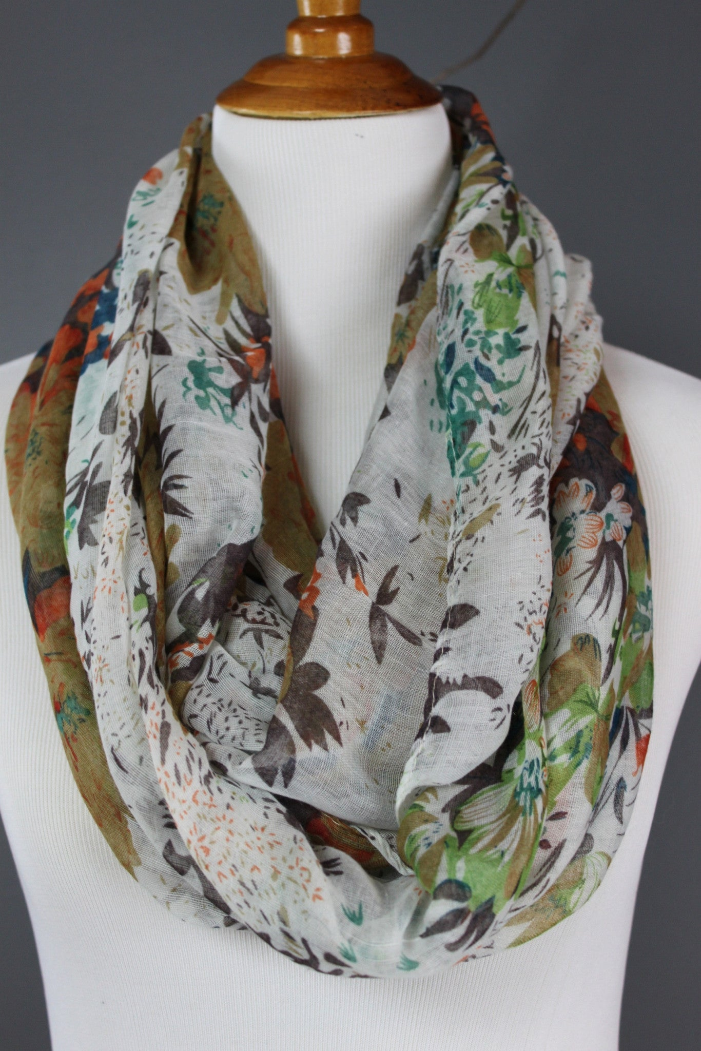 Enchanted Forest - Floral Print Infinity Scarf