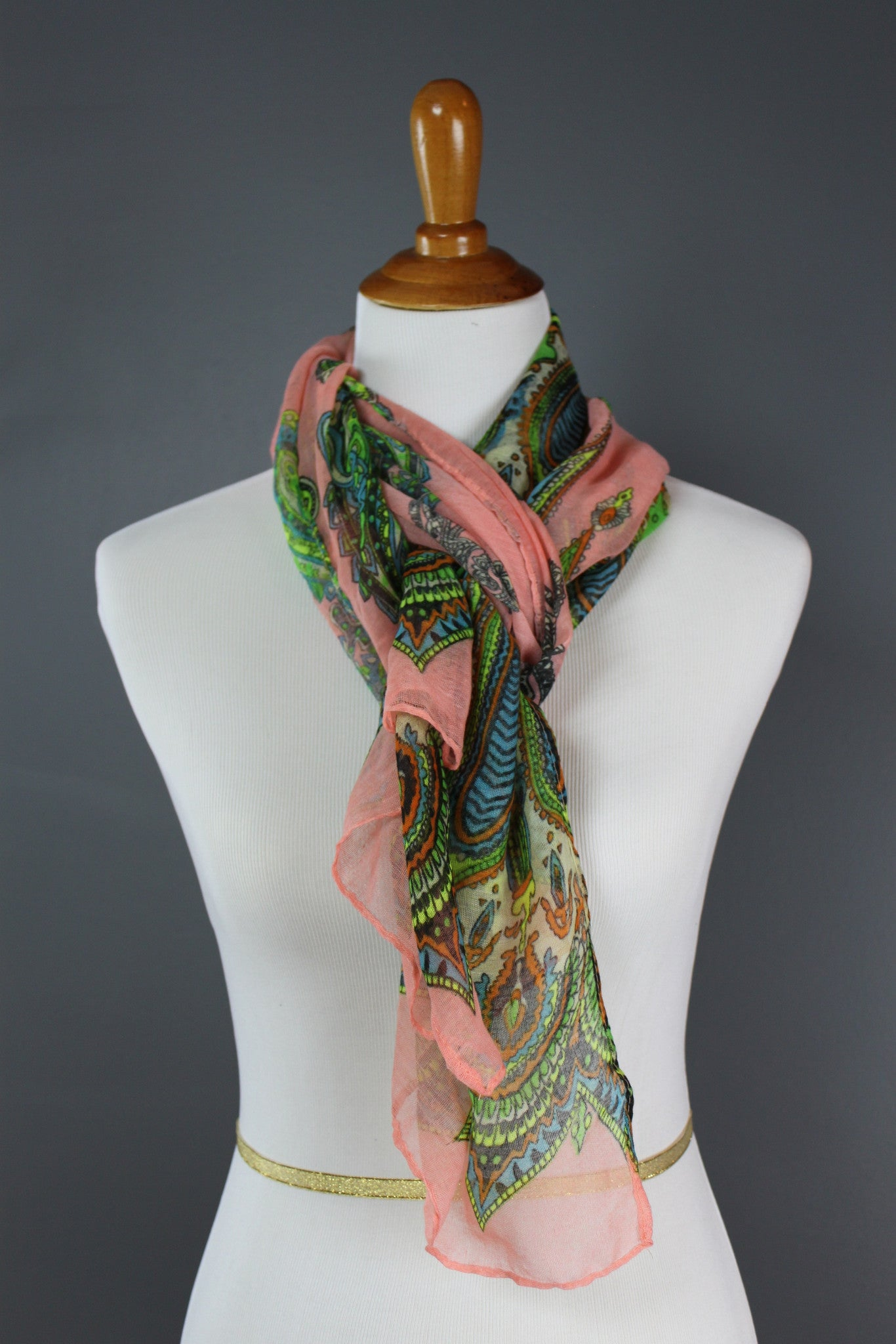 Peachy Keen Paisley Long Scarf