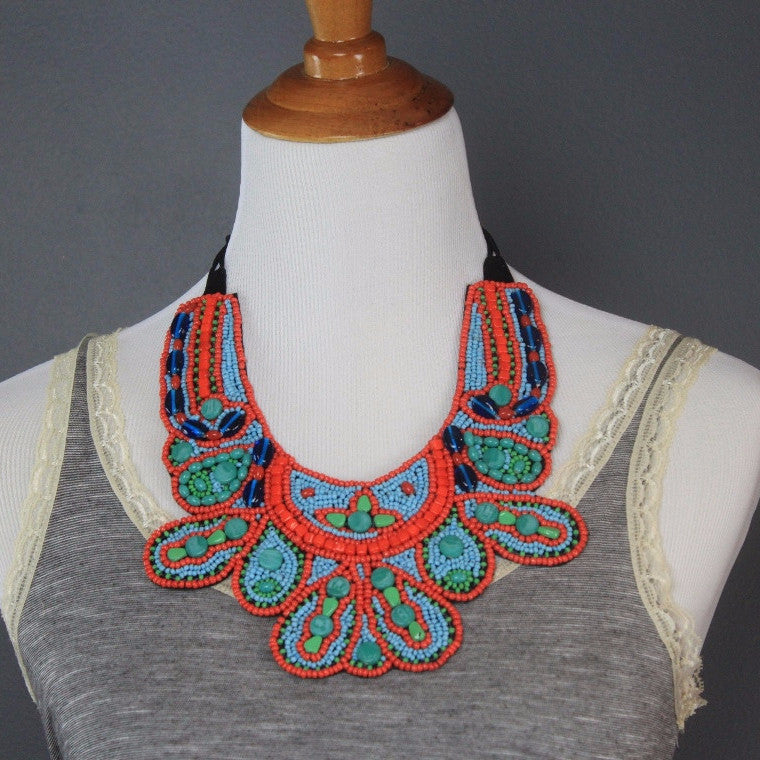 Namibia Tribal Beaded Bib Necklace