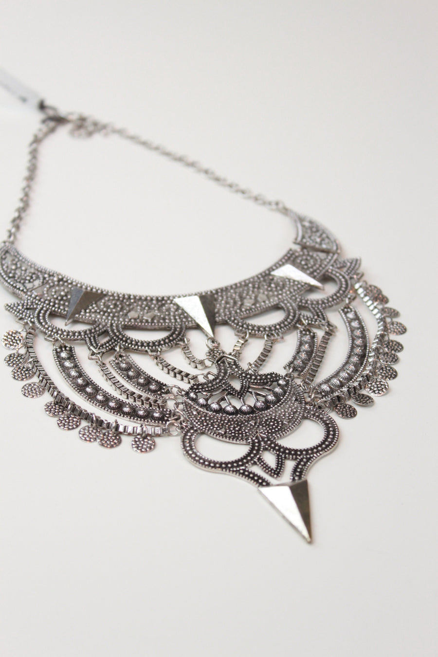Phoenix Embossed Metal Statement Necklace