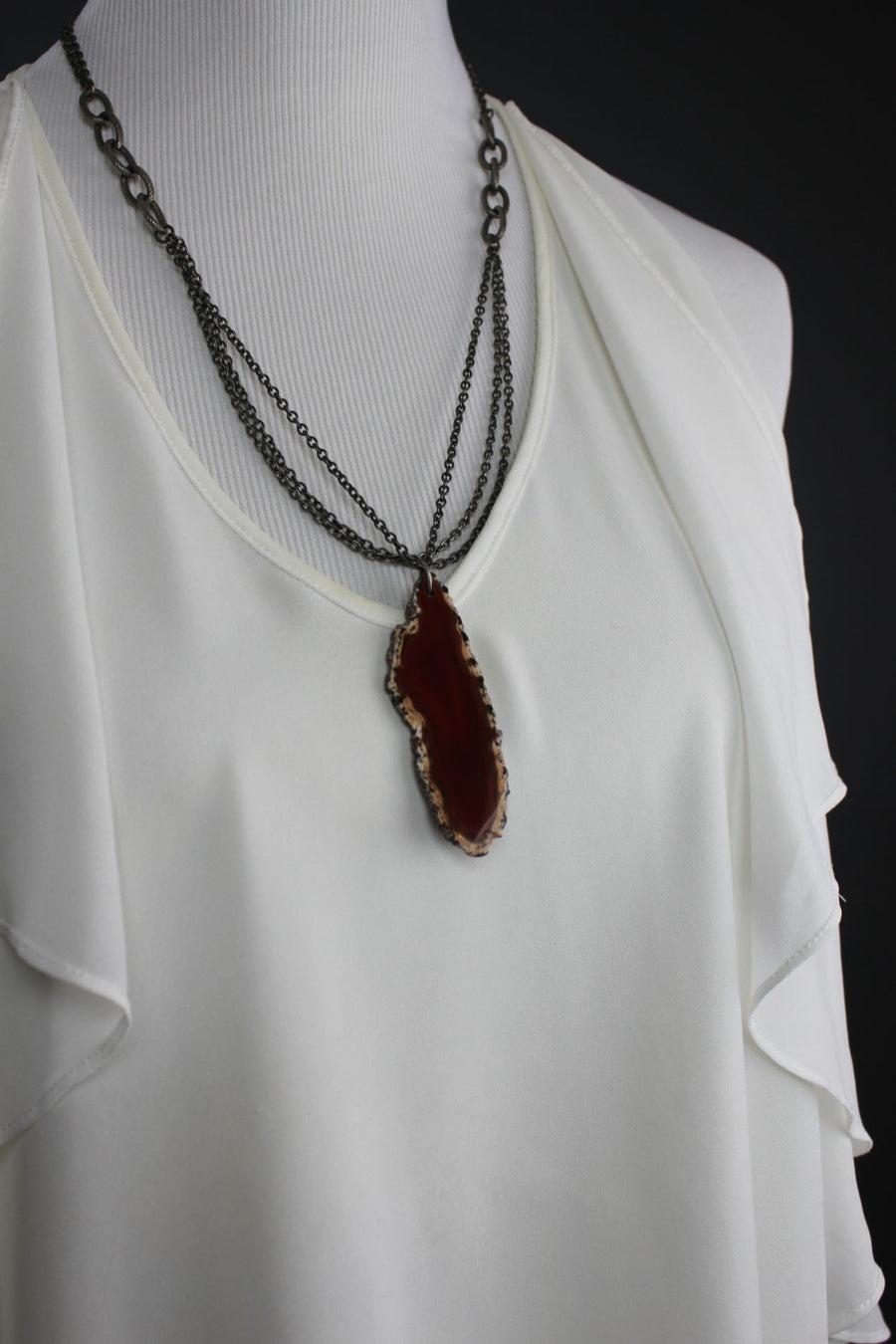 Cenotes Rust Agate Slice Double Chain Necklace
