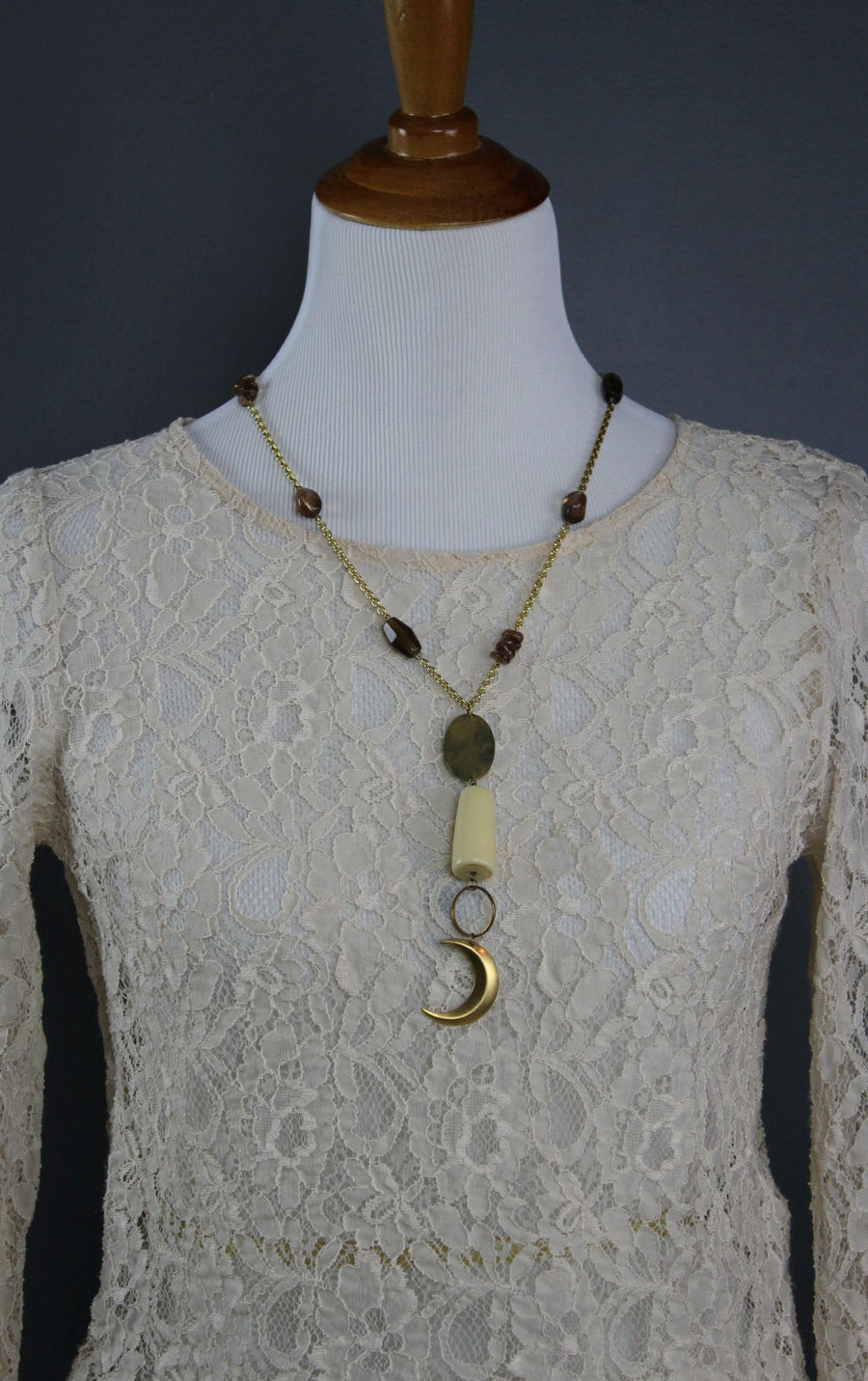 You are the Moon Mixed Media Necklace