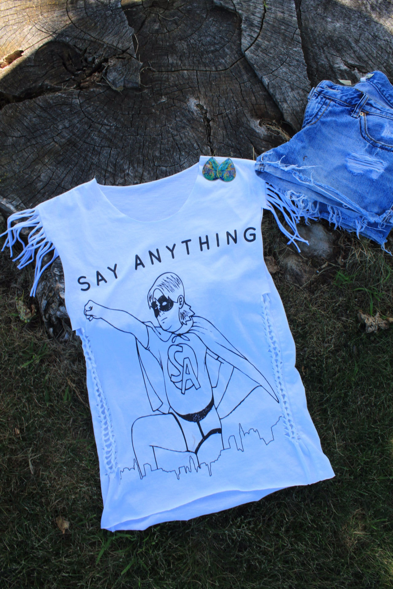 Altered Say Anything Graphic  Slashed  Tee (Only 1)