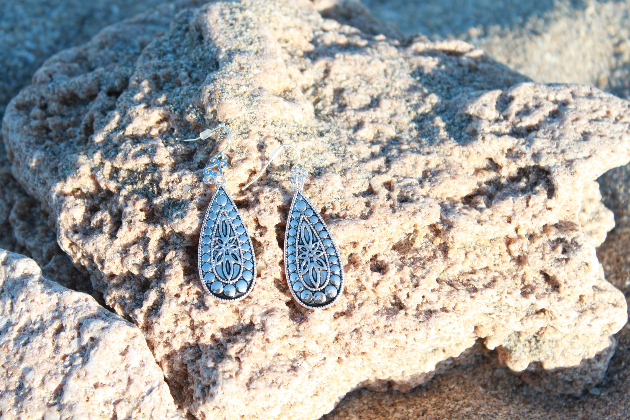 Bindi Bohemian Silver Teardrop Earrings