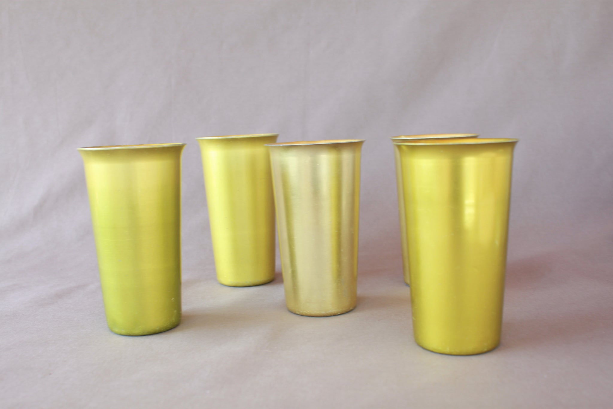 Vintage 70's Citron Green Aluminum Juice Glasses (1 set)