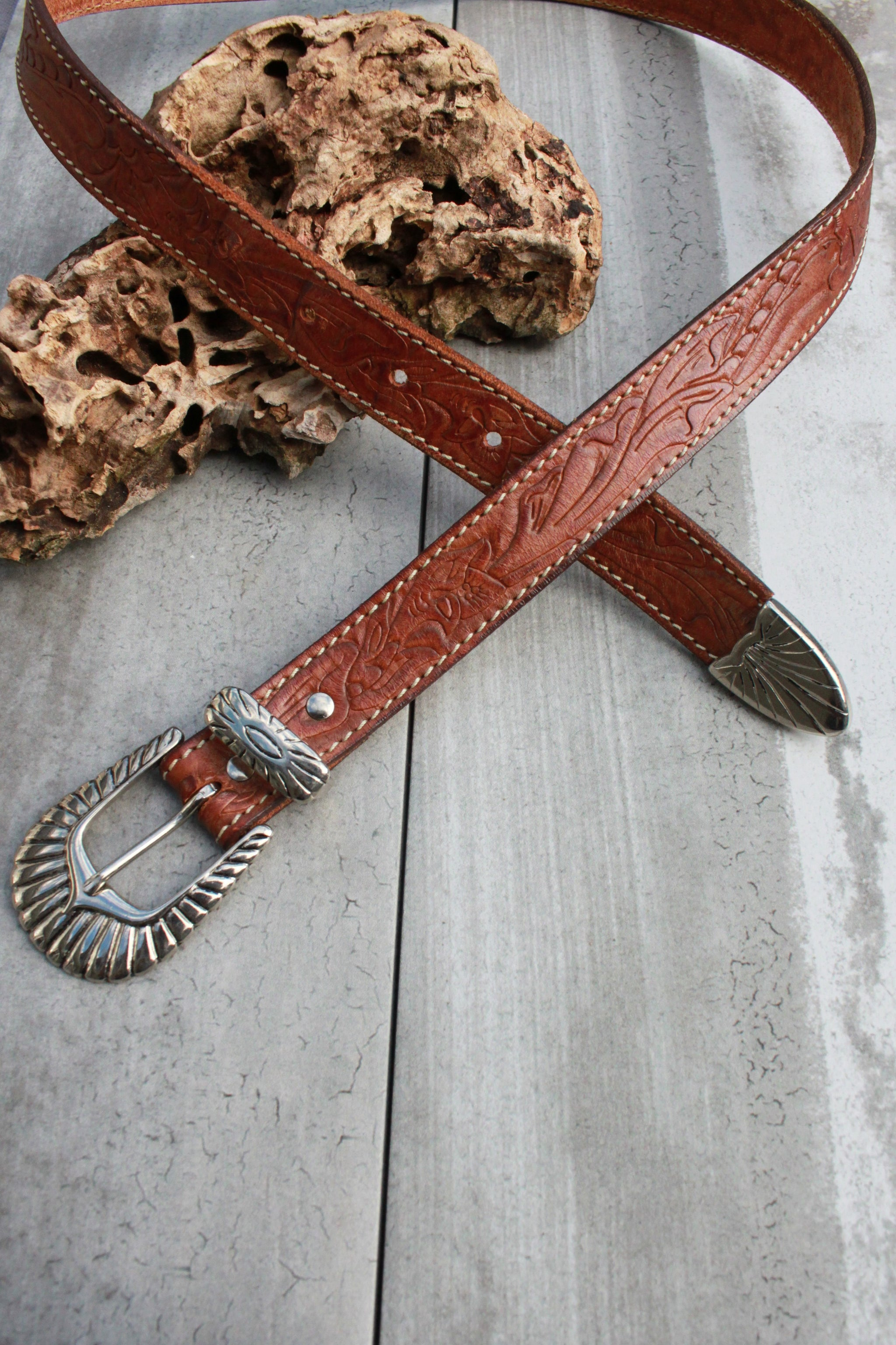 Vintage Carved Leather Belt (Only 1)
