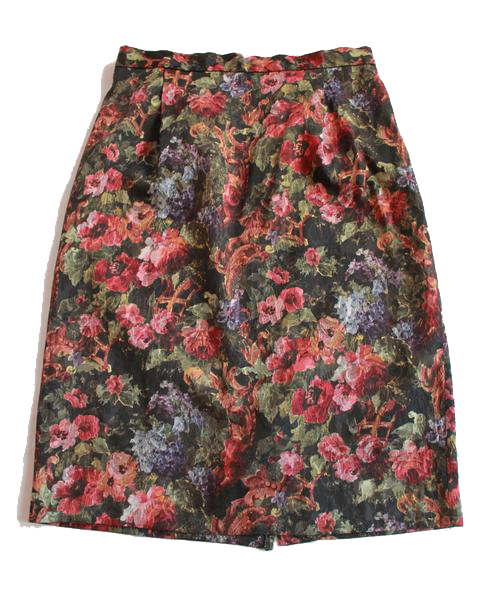 Vintage Floral Tapestry Pencil Skirt