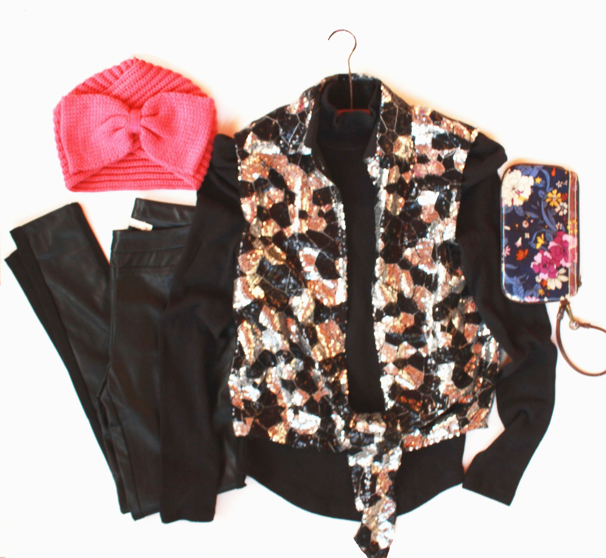 Style a Go-Go Altered Sequined Tie Front Vest Flatlay