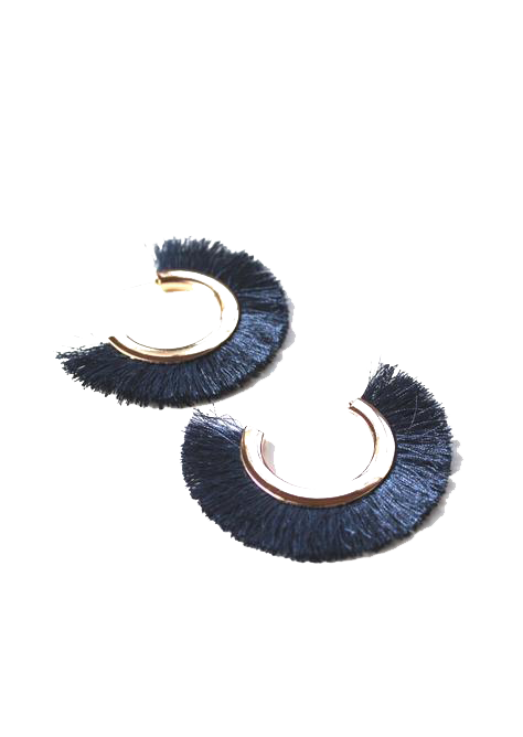 Juju Fringe Fan Earrings - Ocean Blue
