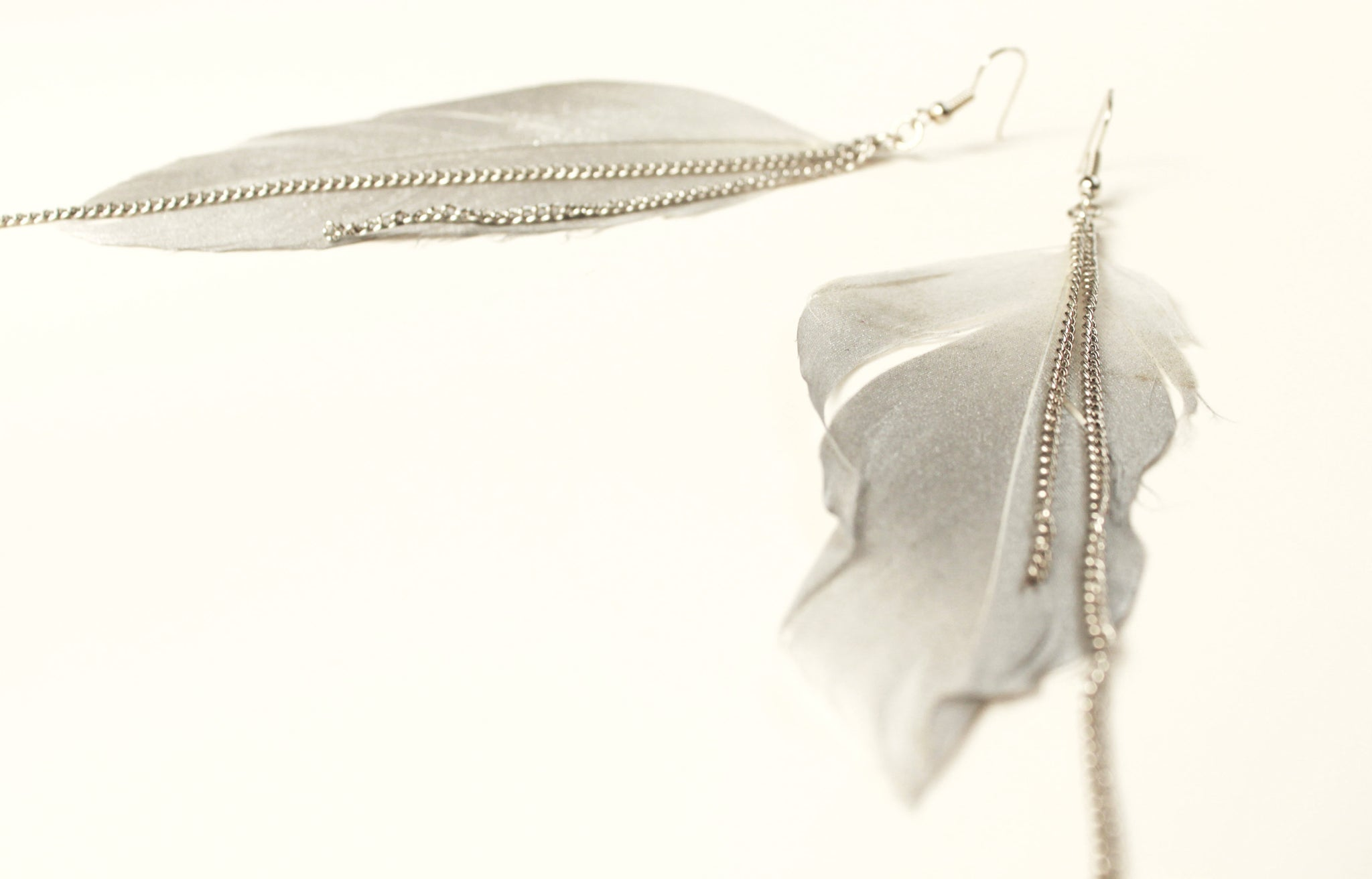 The Flock Feather & Chain Earrings