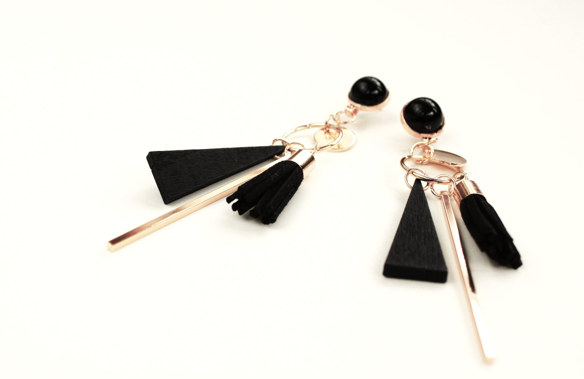 Moving Parts Black & Gold Earrings
