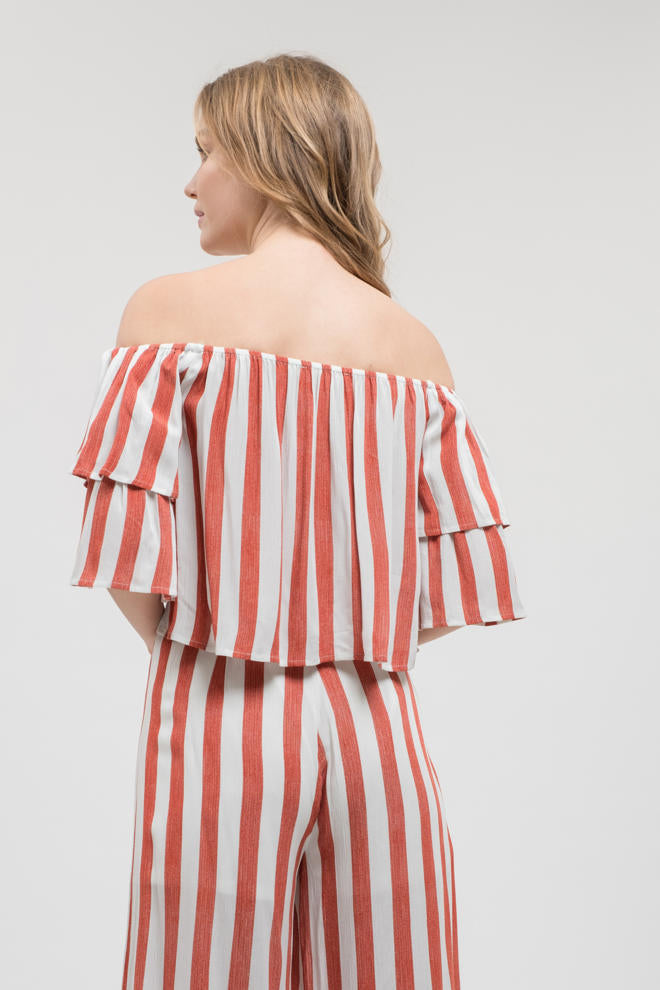 Start Me Up Coral/White Striped Ruffle Top