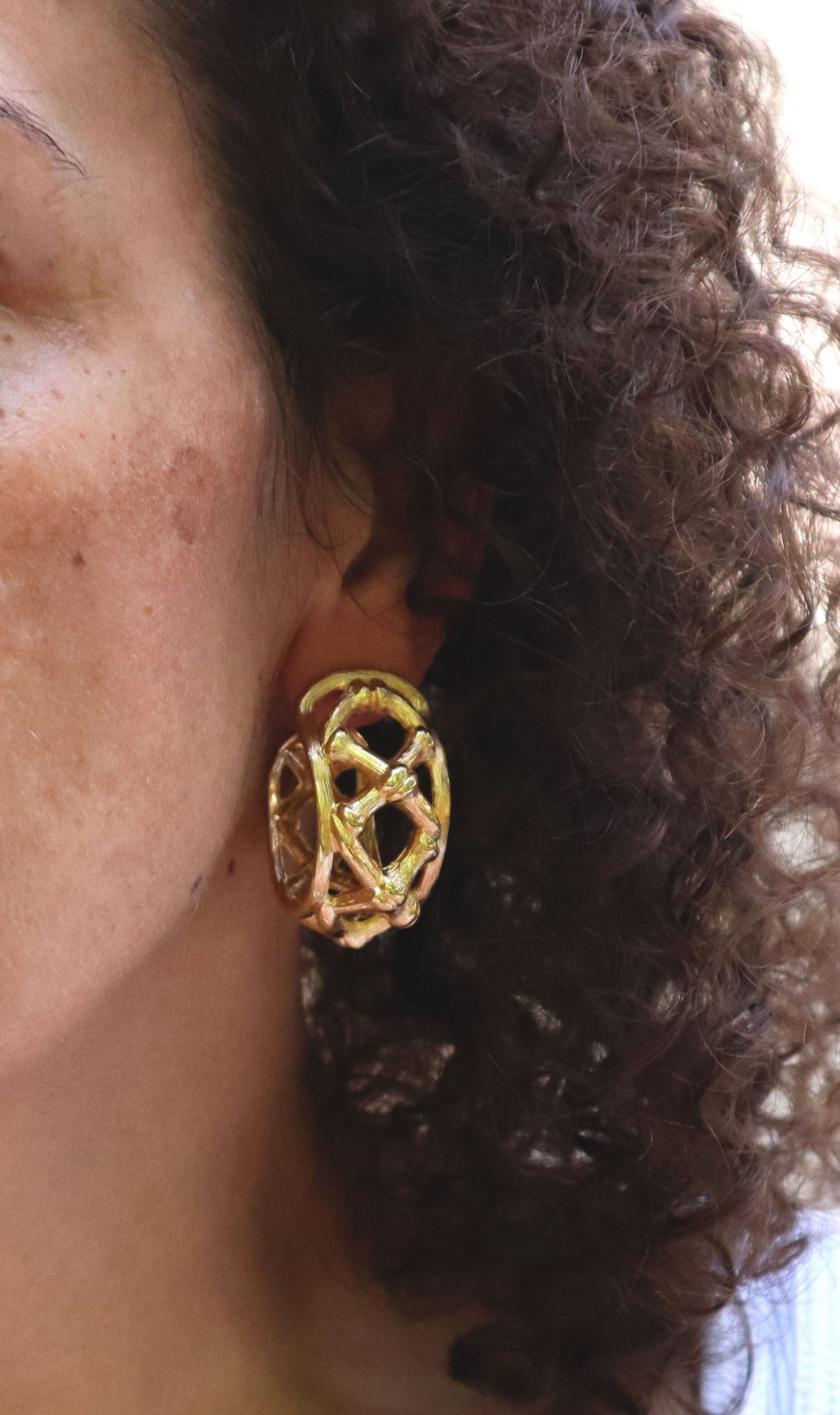 80s Large Gold Lattice Hoops