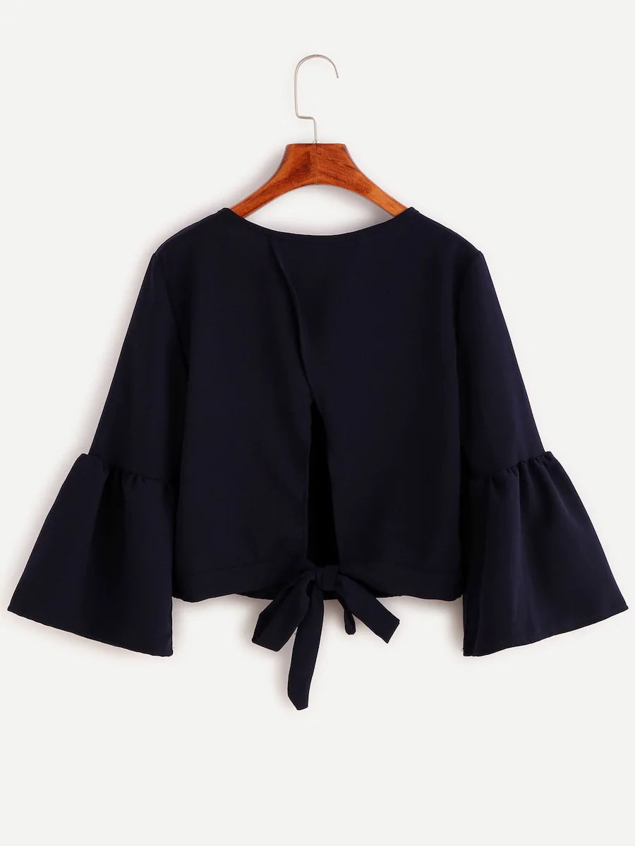 Molokai Navy Tie Back Cropped Top