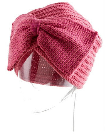 Rosy Bow Knit Turban Hat