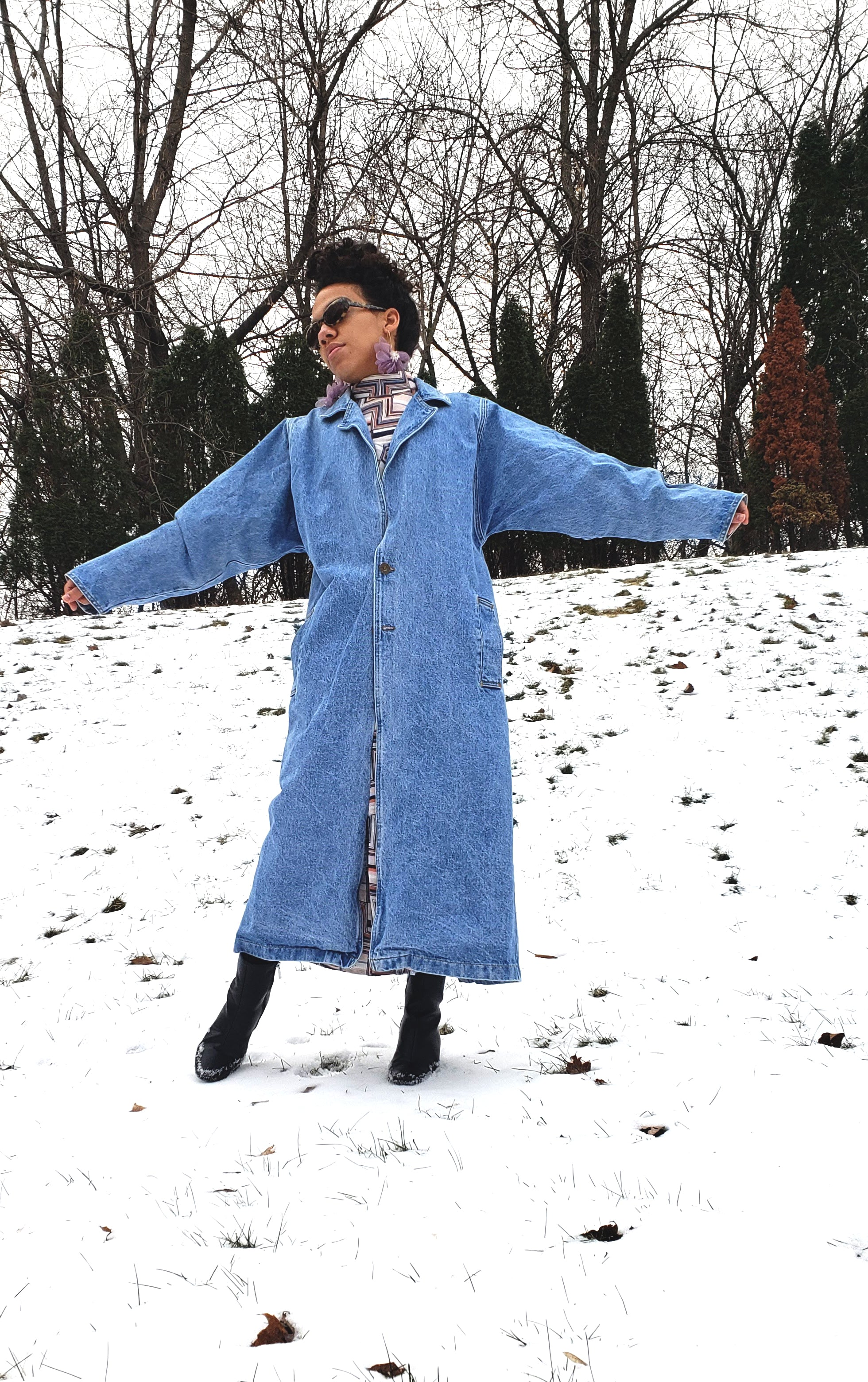 Vintage So Def 90's Light Denim Trench Coat