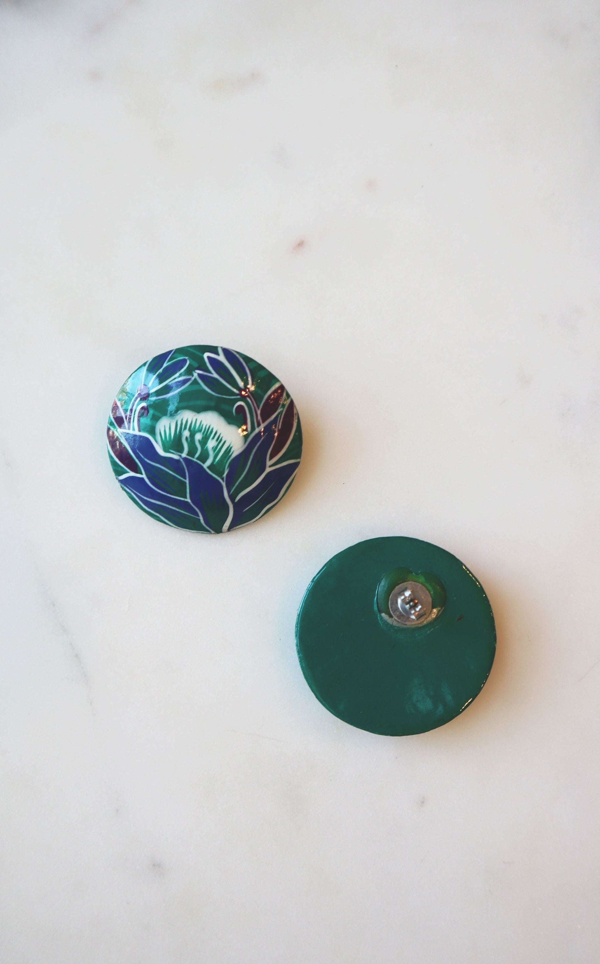 80s Teal & Blue Painted Floral Wood Dome Earrings