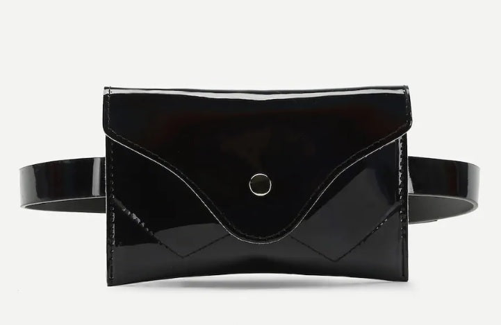 The Night is Calling Iridescent Black Patent Belted Pouch