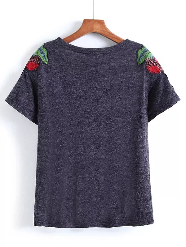 The Wild Night Embroidered Floral Patch Tshirt